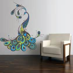 Peacock Wall Mural Full Color Wall Decal Mural Sticker Decor Art Feather