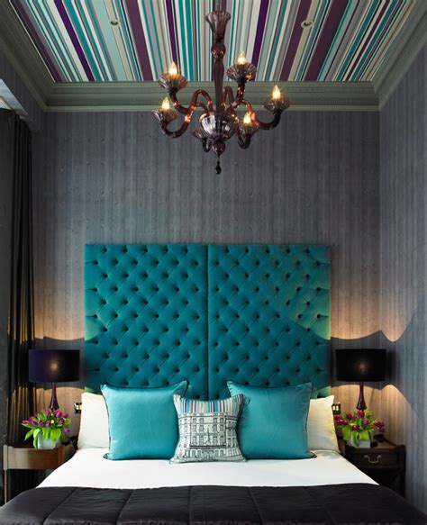 Teal Wallpaper Interior Design by Tufted Headboard Upholstered Furniture Bedroom Ideas