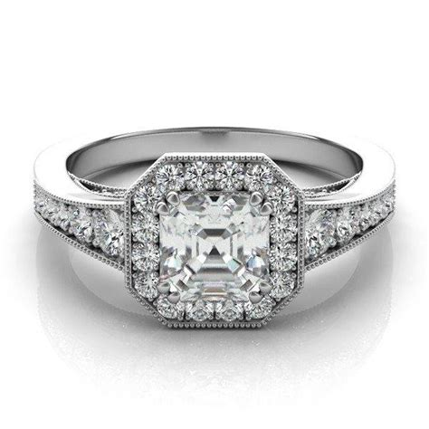 deco engagement rings etsy asscher cut forever one engagement ring 14k 18k