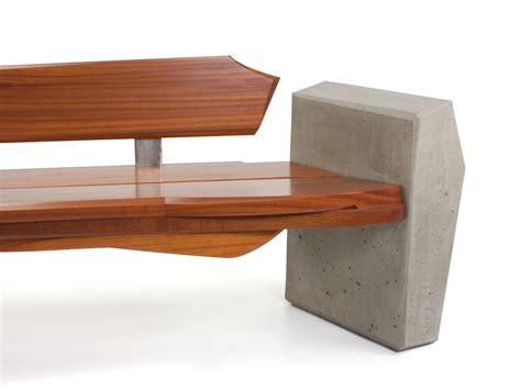 concrete and wood benches nico yektai outdoor bench 4 modern bench made of sapele wood concrete and stainless steel