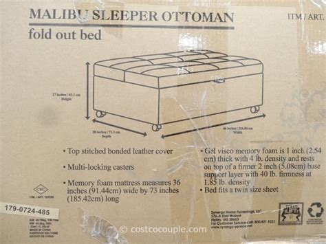 malibu ottoman sleeper synergy malibu sleeper ottoman