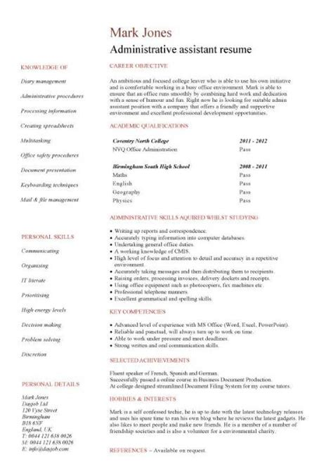 Administrative Assistant Clerk Resume Entry Level Resume Templates Cv Sle Exles Free Student College Graduate