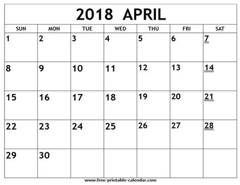 Calendar 2018 April Printable Printable 2018 April Calendar