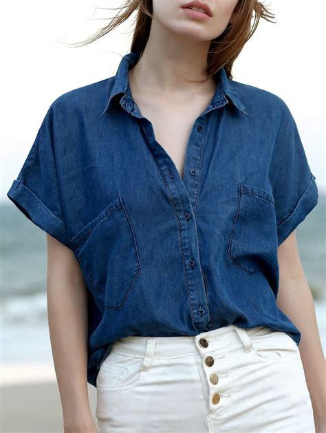 Sleeve Blouses With Pockets by Pockets Shirt Collar Sleeve Chambray Shirt Shorts