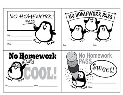 free homework pass template homework winter and free printable on