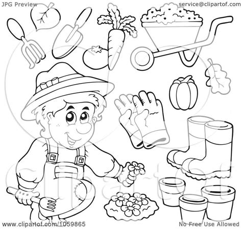 preschool coloring pages garden of a digital collage of coloring page outlines of