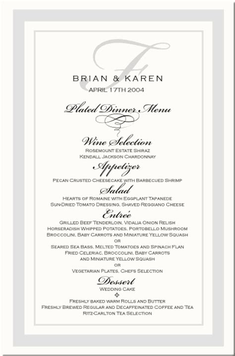 Menu Cards Template Wedding Reception by Wedding Menu Cards Vintage Monogram Menu Cards Special