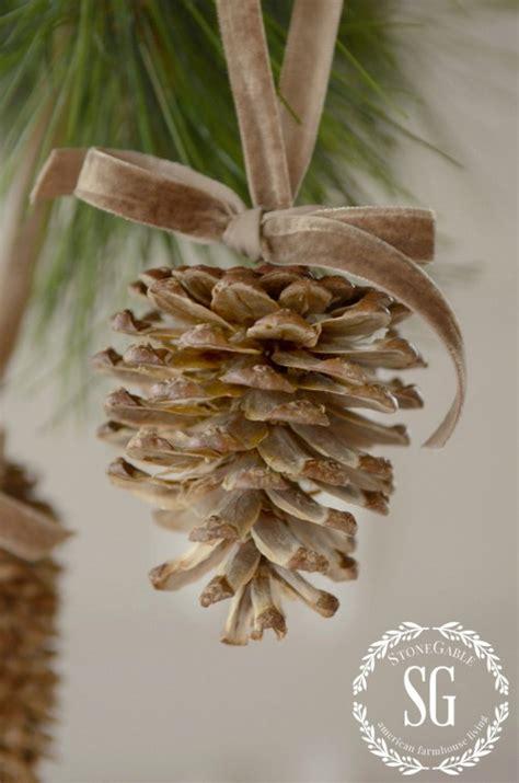 pine cone ornaments bleached pine cone ornaments dan330