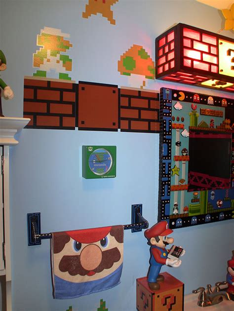 video game bathroom decor gamer bathroom is flush with pixel art