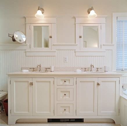 Cottage Style Mirrors Bathrooms by Beadboard Bathroom White Bathroom Vanity Cottage