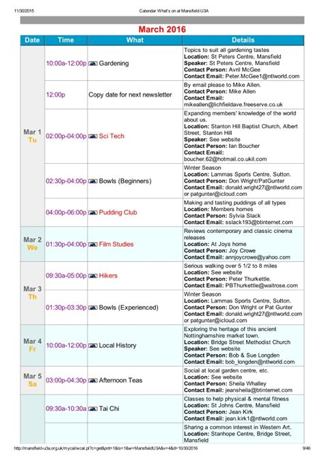 Whats On Calendar Calendar What S On At Mansfield U3a In 2016