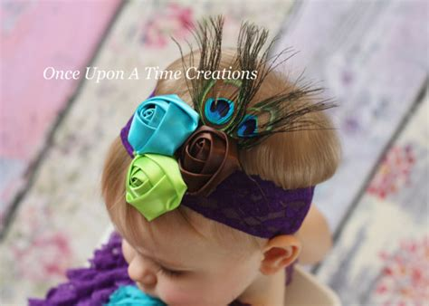 couture peacock satin flower feather headband costume