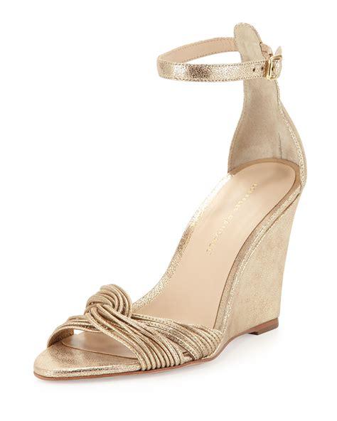gold wedge sandals loeffler randall allegra metallic wedge sandal in gold lyst
