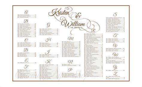 free printable wedding seating chart template 1000