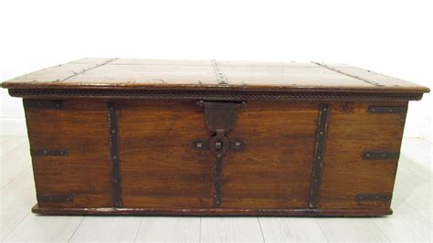 a large antique 18th c iron bound teak coffer trunk coffee