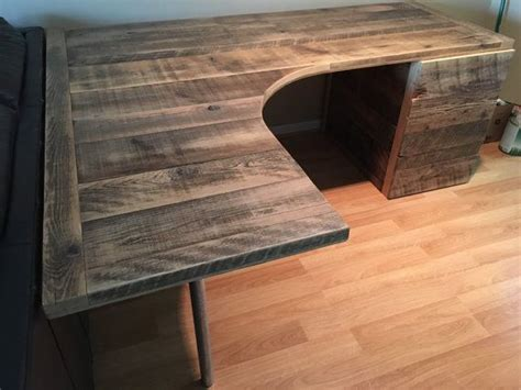 shaped curved desk  drawers  reclaimtofame