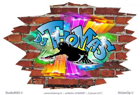muursticker graffiti thema muziek dj thomas