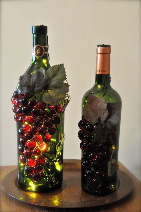 wine bottle craft projects handmade grape wine bottle nightlights erb s