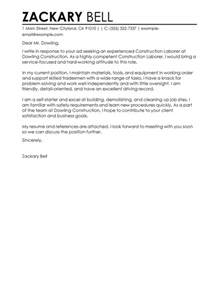 Cover Letter Construction best construction cover letter exles livecareer