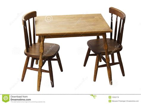 Children's Child Wood Table And Chairs Isolated Royalty