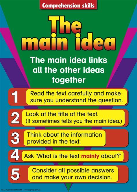 printable main idea poster comprehension skills the main idea library and