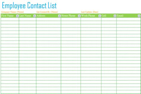 address list template employee contact list template dotxes