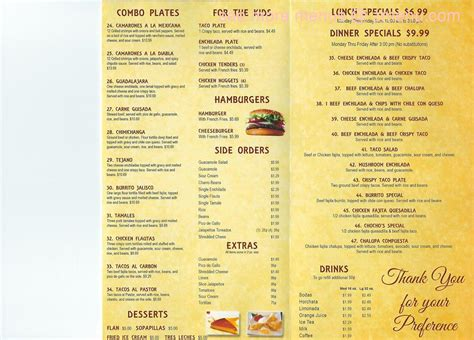 Tequila Jalisco Knob Noster by Jalisco Mexican Restaurant Menu Images