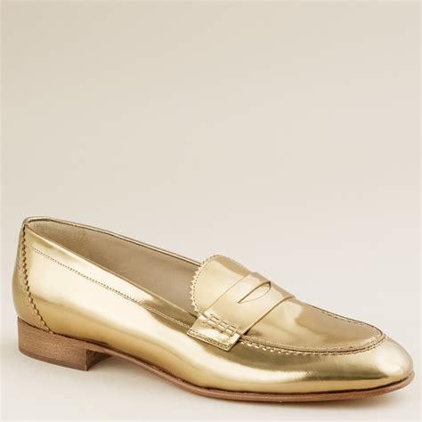 metallic loafers for j crew biella metallic loafers in gold brocade gold