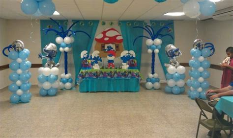 smurfs balloon decoration smurfs - Smurfs Theme Decorations