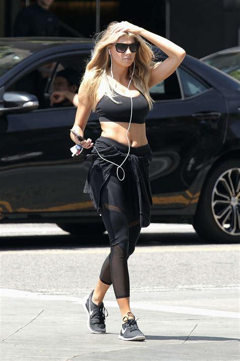 charlotte mckinney  tights leaves  gym  la gotceleb