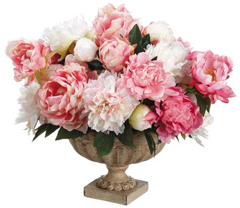 peony arrangement silk off white and pink peonies arrangement centerpiece