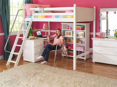 girls loft bed with desk girls white loft bed with a desk and vanity the great
