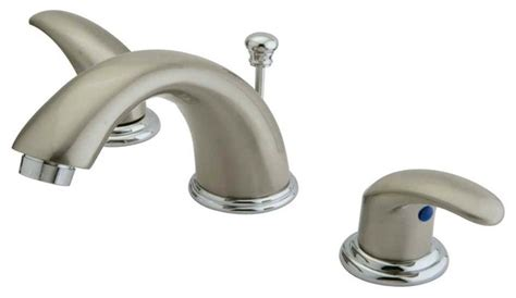 two handle widespread lavatory faucet in dual tone finish