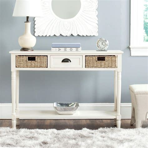 White Console Table With Storage by Safavieh Winifred White Storage Console Table Amh5730b