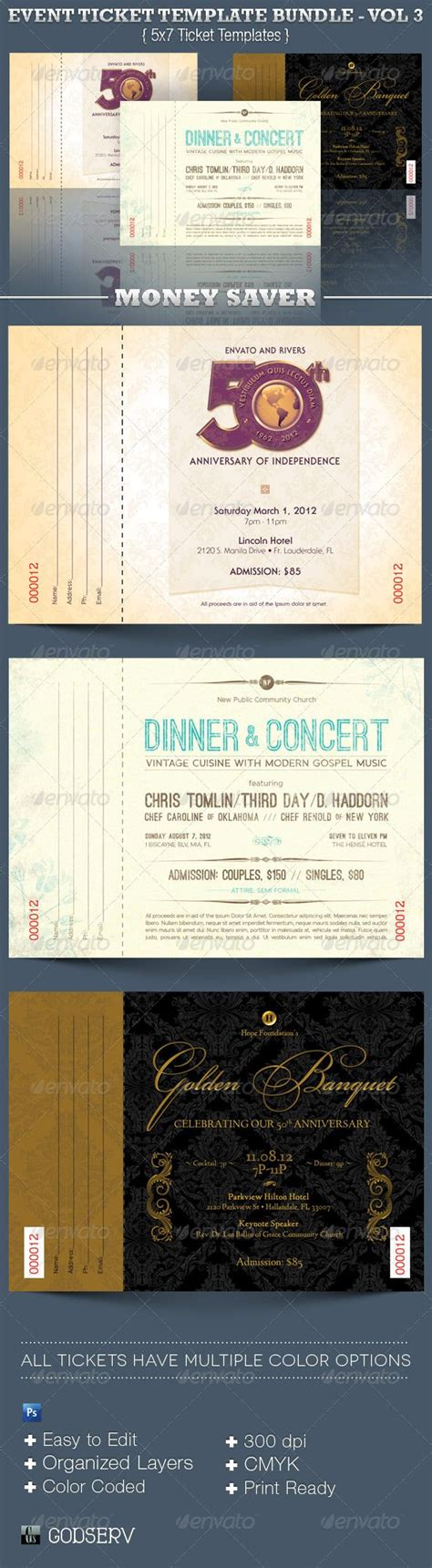 ticket templates for photoshop event ticket template bundle volume 3 fonts church and