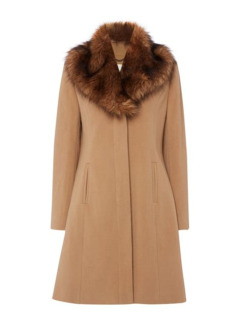 Faux Fur Collar Coat linea wool faux fur collar coat in beige camel