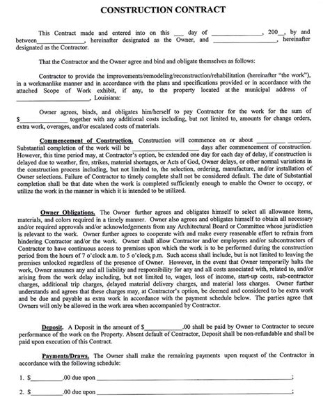 building contract agreement template construction company contract template sle