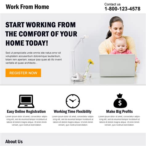 Work From Home Template work from home landing page design template exle to