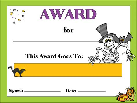 free printable halloween certificate awards template