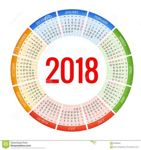 2018 circle calendar print template week starts sunday