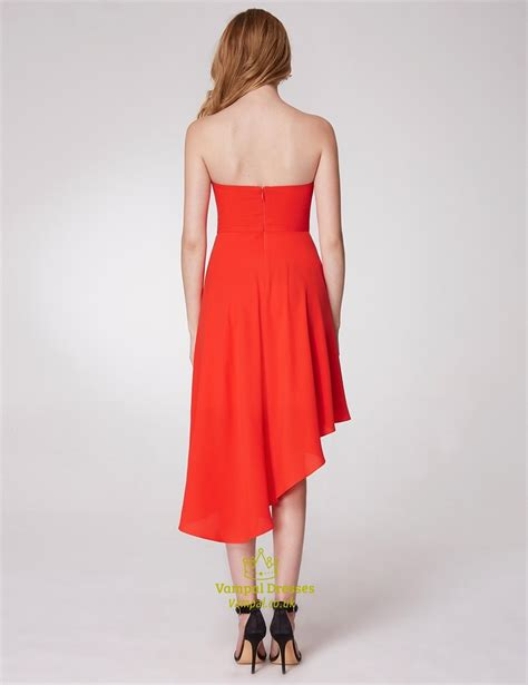 Sleeveless A Line Chiffon Dress a line strapless sleeveless asymmetrical hem pleated