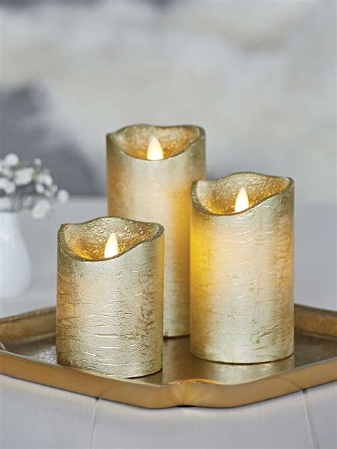 gold led pillar candles gold flameless candles nordic