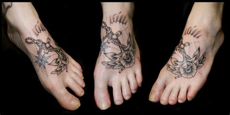foot rose tattoos my designs anchor