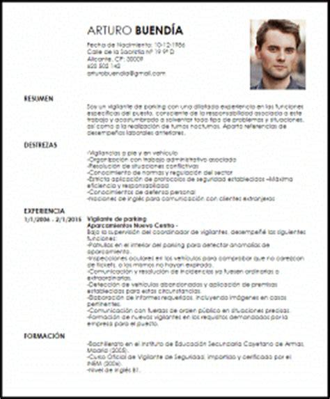 Plantilla Curriculum Vitae Vigilante De Seguridad Modelo Curriculum Vitae Vigilante De Parking Livecareer