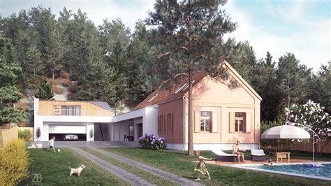 house near pine forest on behance