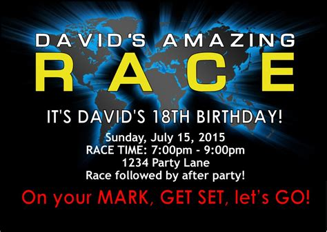 Amazing Race Party Supplies And Invitations Amazing Race Editable Templates Free