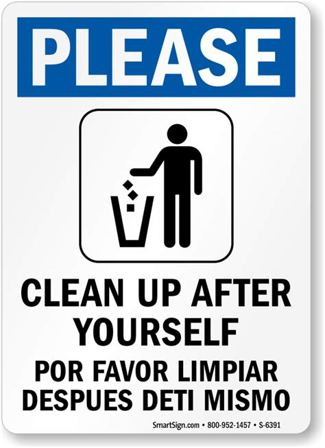 how to say clean the bathroom in spanish bilingual please clean up after yourself sign best