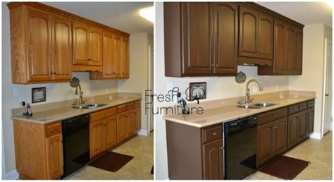How To Varnish Kitchen Cabinets | general finishes java gel stain before and after java gel