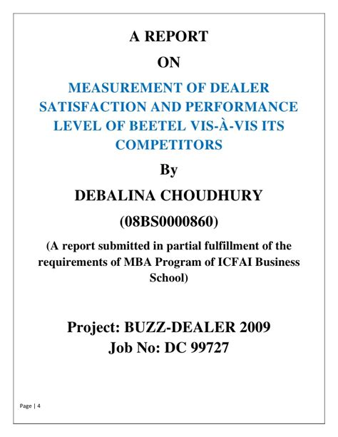 Dealer Satisfaction Mba Project Report by A Report On Measurement Of Dealer Satisfaction And