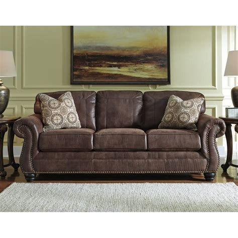 faux leather living room furniture peenmedia com ashley breville faux leather sofa in espresso 8000338